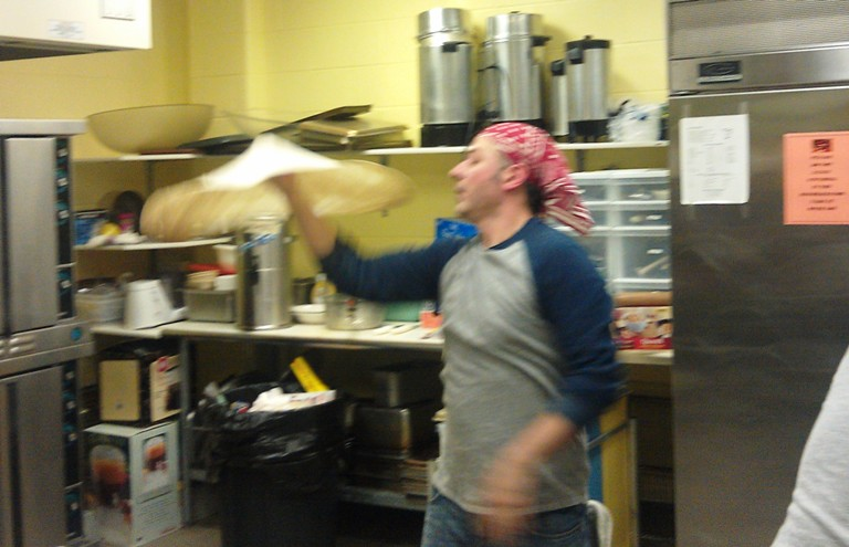 Kurt throwing some Pizza!!